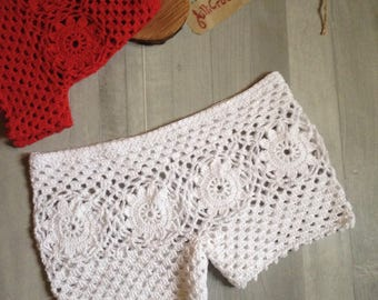 Beach SHORTS, sexy white shorts, SHORTS, swim suit,  lace  shorts, woman shorts,  Crochet shorts, cotton shorts, beachwear, crochet fashion