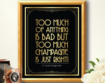 Champagne sign, Art Deco, Great Gatsby decorations, great gatsby, great gatsby wedding, party decorations, bar sign, drink poster bar poster
