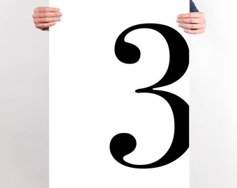 Number Three Poster Printable Wall Art Decor Bedroom Printable Large Number 3 Print 8x10 Gallery Wall Print Subway Numbers