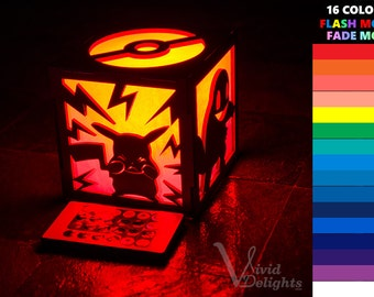 Pokemon Inspired ( Pikachu charmander bulbasaur Squirtle pokeball ) Color LED Lantern