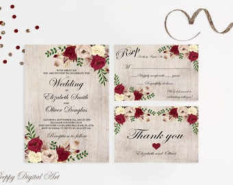 Rustic Wedding Invitation Printable Floral Wedding Invitation Suite Boho Wedding Invite Burgundy Wedding Invite Set DIY Spring Wedding