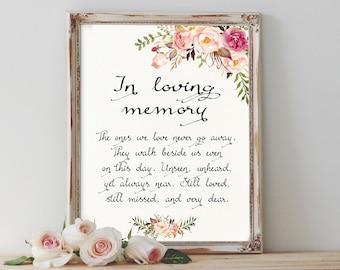Floral Loving Memory Sign Printable Boho In Loving Memory Sign Wedding Memorial Sign Blush Memorial Sign Wedding Reception Sign Wedding Sign