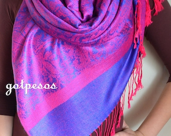 Pashmina Scarf Shawl for Women fuchsia pink / royal blue