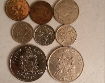 8 bermuda vintage coins 1970 coin lot 1 - 5 - 10 - 50 cents - world foreign collector money numismatic a32