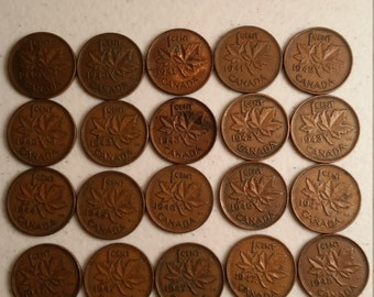 21 canada vintage coins 1940 - 1949 coin lot cents maple leaf canadian - world foreign collector money numismatic a42