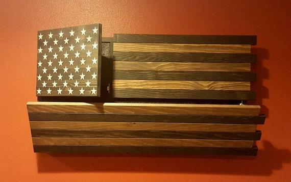 Gun Concealment Cabinet Dark Rustic American Flag Dual