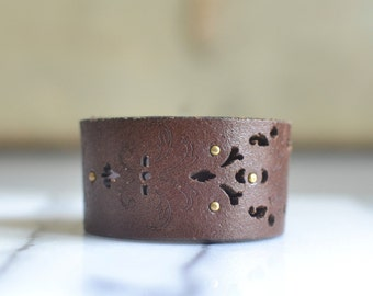 Hand stamped Leather Cuff