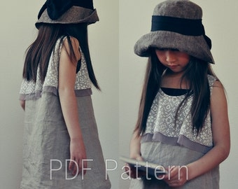 Circular yoke dressサーキュラーヨークワンピース80-150(重ねがき)kids PDF sewing pattern