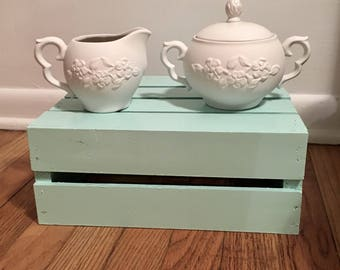 Antique White Porcelain Cream and Sugar Set w/embossed flowers Farmhouse Shabby French Country Cottage Servingware Kitchenware Wedding Gift