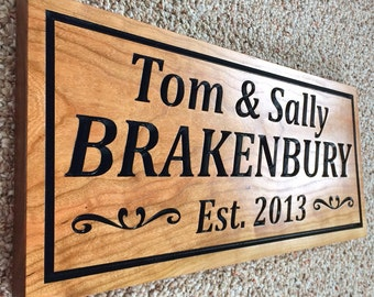 Personalized Family Name Sign Couple Wedding Gift Last Name Sign Established Sign Custom Wooden Sign 3D Wood Plaque Personalized Sign Carved
