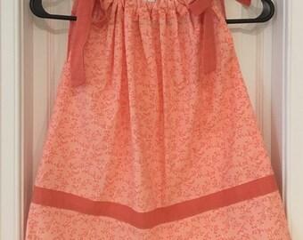 Tangerine Color Pillowcase Dress Handmade 4 Toddler, Pillowcase Dress 4 Toddler, Toddler Clothes Pilllowcase Dress