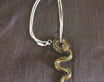 Stunning glass Snake Pendant and Sterling Silver box chain