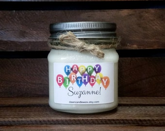 8oz Happy Birthday Candle - Soy Candles Handmade - Birthday Banner - Gift for Her - Gift for Him - Birthday Present - Personalized Candles