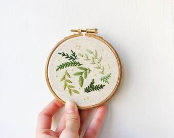 botanical burst hand embroidery, hoop art
