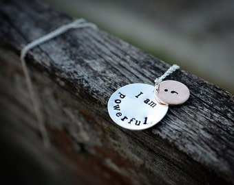"Semicolon Necklace, Hand-Stamped ""I am..."" Semicolon Necklace, Suicide Prevention Awareness"