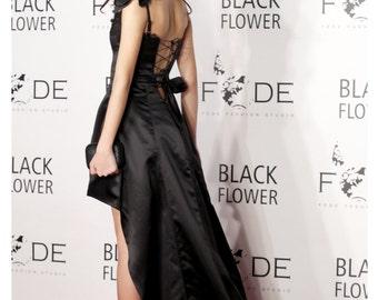 Black Wedding Dress, Corset Dress, Gothic Dress, Steampunk Wedding Dress, Asymmetrical Dress, Black Gown, Bridesmaid Dress, Elegant Gown