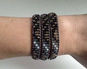 Gray Black and Silver Triple Wrap Bracelet, Gray Leather Seed Bead Wrap, Silver Beaded Bracelet