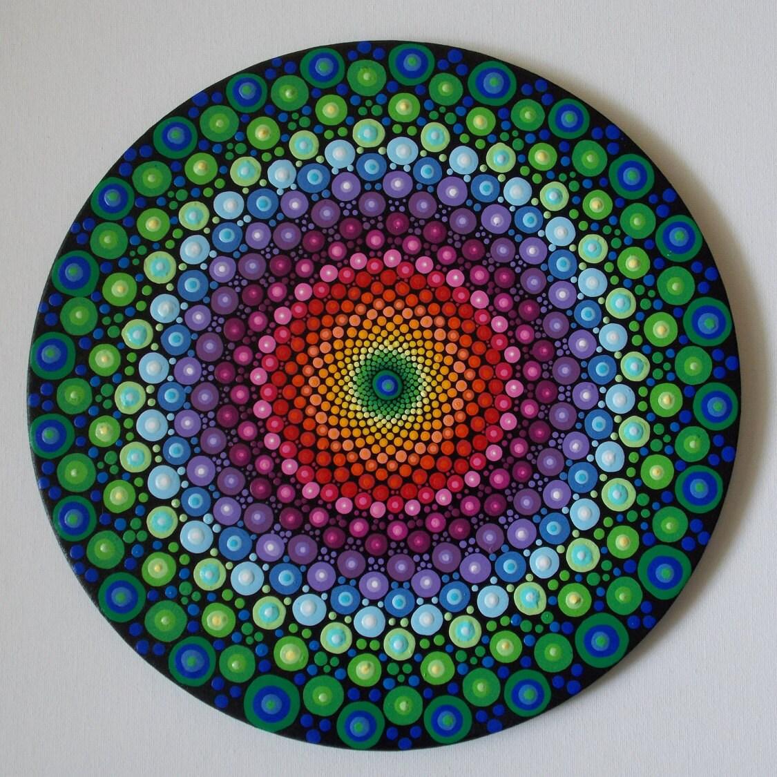 Rainbow Dot Mandala 10in Round Original Mandala Recycled