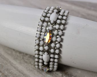 "Vintage Signed Weiss bracelet White Milk Glass and AB rhinestone, 6.5"" long, 6-row bracelet with Aurora Borealis rhinestones, estate jewelry"