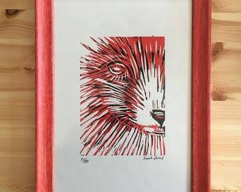 Red Fox Lino Print