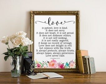 Bible Verse Wall Art Love is patient Love is kind Christian