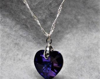 Swarovski Amethyst Crystal Heart on Silver Plated Chain
