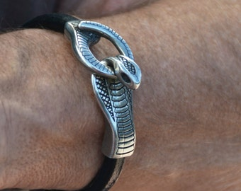 snake bracelet, men leather bracelet, biker bracelet, tribal bracelet, handmade bracelet, dragon bracelet, gift for him, men leather brand