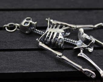Sterling Silver Skull pendant, 3D Skull Pendant, Human Skull Pendant,Sugar Skull Pendant, human skeleton pendant