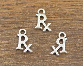 50pcs RX Charms Antique Silver Tone Double Side 10x15mm - SH544