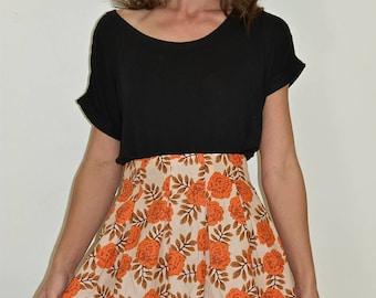 Orange Skirt, High Waisted Skirt, Pleated Skirt, Flower Skirt, Print Skirt
