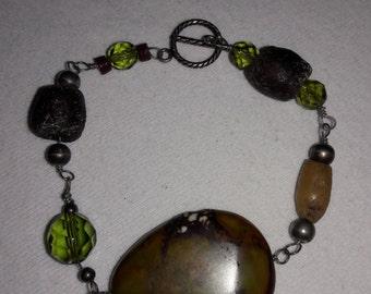 Labradorite Stone and Crystal Vintage Bracelet