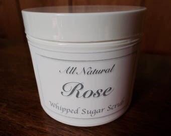 Rose Whipped Sugar Scrub - All Natural - Organic Camellia Oil, Shea Butter, Organic Safflower Oil