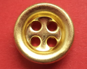 10 small metal buttons gold 13 mm (6662) button metal