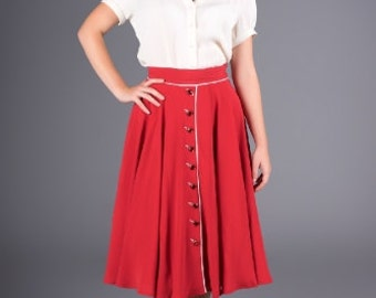 40's Vintage Inspired Red Skirt | Rita - By The Seamstress of Bloomsbury