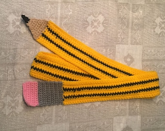 Hand crocheted pencil scarf