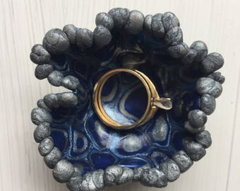 Unique Ring Dish | Tiny, Footed, Silver and Blue