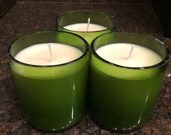Wine Bottle Candles, Scented Soy Candles, Handmade Candles (set of 4)