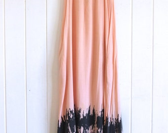 Coral tie dye maxi dress with pockets, boho, bohemian