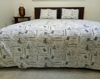 Paris Theme Queen Size Duvet Set