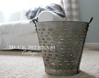 Custom Listing for Jodi -     Large Vintage Olive Bucket - Cottage Decor - Farmhouse Decor