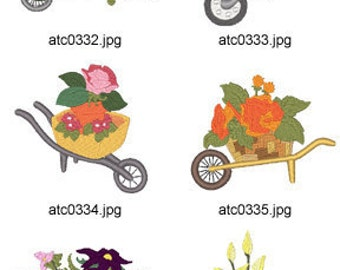 Bunny-Floral-Carts ( 10 Machine Embroidery Designs from ATW ) XYZ17C
