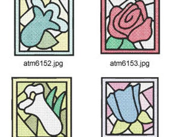 Stained-Glass-Flower-Blocks ( 7 Machine Embroidery Designs from ATW ). XYZ17C