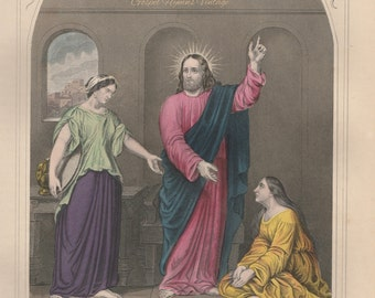 Antique Bible Print, Christ Mary and Martha, 1899