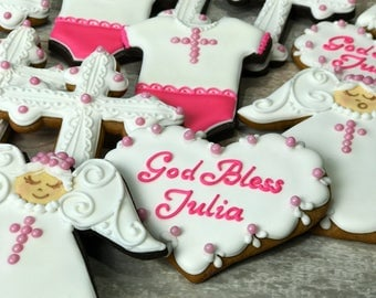 12 Baptism Cookies - Angel Cookies, Cross Cookies, Christening cookies, Communion cookies, Baptism cookies, Confirmation cookies