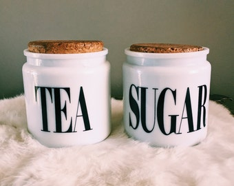 Pair of Vintage Milk Glass Sugar + Tea Canister Jars / Made In England