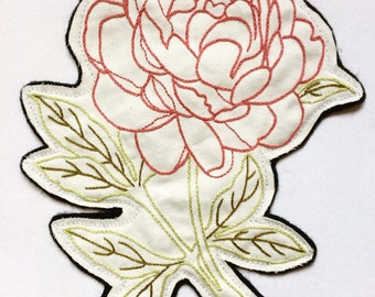 Hand Embroidered Large Pink Peony Patch