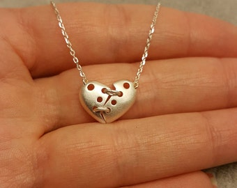 Broken heart jewelry, Broken heart, Broken heart pendant, Mended heart, Split heart necklace, half heart jewelry, Broken heart charm, heart