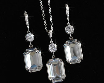 Handmade Crystal Clear Emerald Cut Bridal Necklace and Earring Set, Bridal, Wedding (Sparkle-2326)