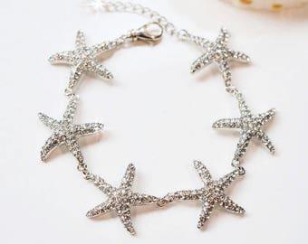 Handmade Crystal Rhinestone Starfish Bracelet, Destination or Beach Wedding, Bridal (Sparkle-2719)