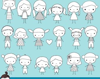 Cute boy and girl stick figure digital stamp, Children stick figure clip art, Black and white outline stick figure clipart, Kids digi stamp